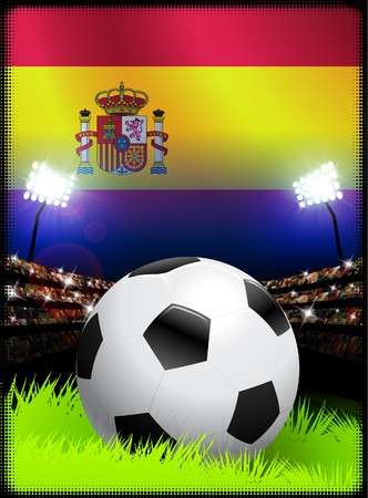 Spain Flag and Ball on Stadium Background Original Illustration