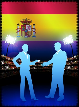 Spain Business Couple on Stadium Background Original Illustration