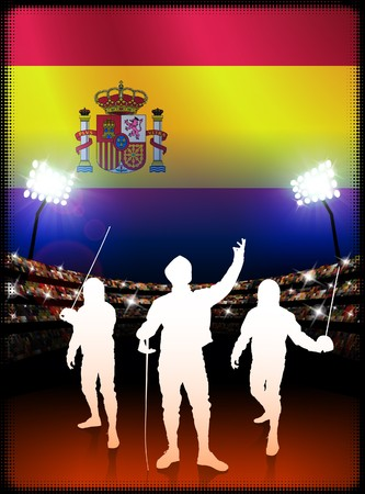 Spain Fencing on Stadium Background Original Illustration Banco de Imagens