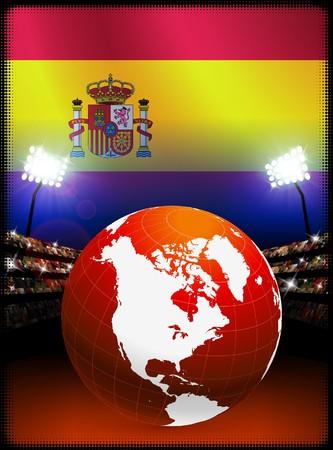 Spain Flag with Globe on Stadium Background Original Illustration