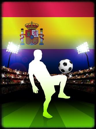 Spain Soccer Player with Flag on Stadium BackgroundOriginal Illustration Stock Illustration - 7265622