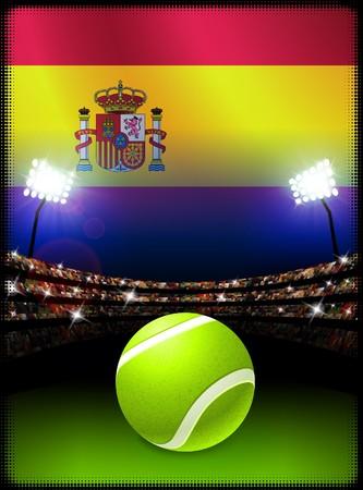 Spain Flag and Tennis Ball on Stadium Background Original Illustration