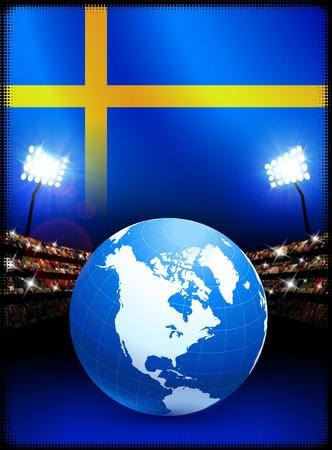 sweden flag: Sweden Flag with Globe on Stadium Background Original Illustration Stock Photo