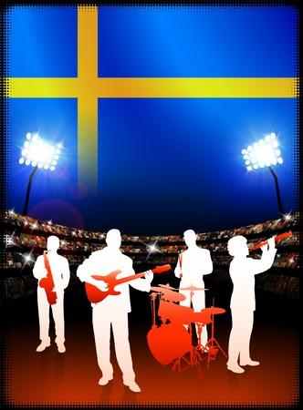 Live Music Band with Sweden Flag on Stadium Background Original Illustration
