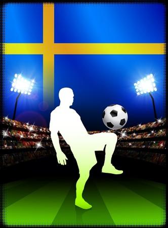 sweden flag: Sweden Soccer Player with Flag on Stadium Background Original Illustration