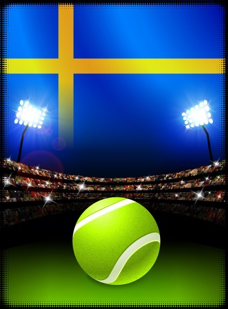 스웨덴 플래그와 테니스 공을 경기장 배경에 원래 그림