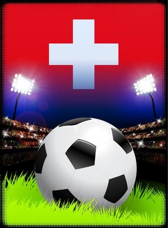 swiss flag: Switzerland Flag and Ball on Stadium Background Original Illustration