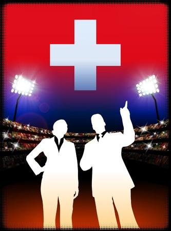 Switzerland Business Couple on Stadium Background Original Illustration