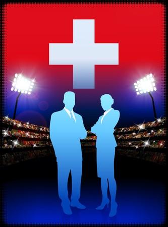 swiss flag: Switzerland Business Couple on Stadium Background Original Illustration