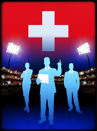 swiss flag: Switzerland Business Team on Stadium Background Original Illustration Stock Photo