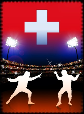 cross match: Switzerland Fencing on Stadium Background Original Illustration Stock Photo