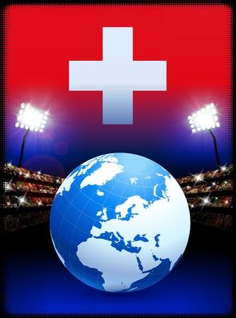 swiss flag: Switzerland Flag with Globe on Stadium Background Original Illustration