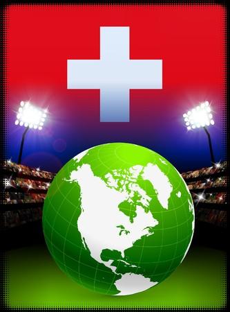 Switzerland Flag with Globe on Stadium Background Original Illustration