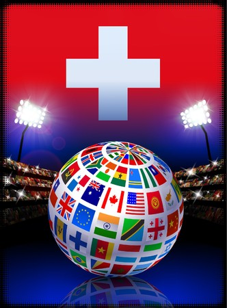 cross match: Switzerland Flag Globe on Stadium Background Original Illustration