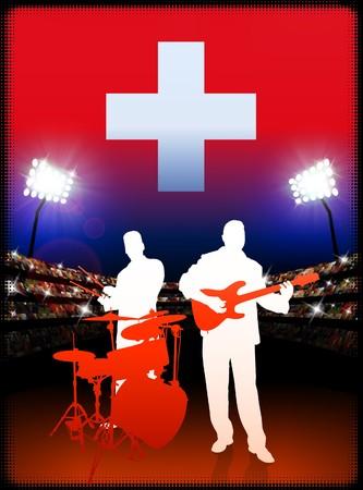 Live Music Band with Switzerland Flag on Stadium Background Original Illustration illustration