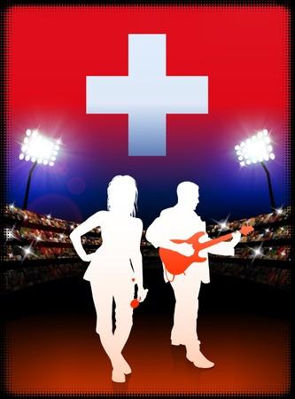 Live Music Band with Switzerland Flag on Stadium Background Original Illustration