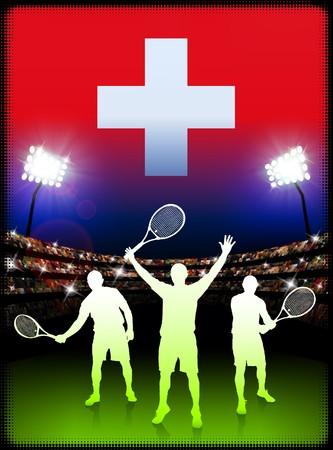 Switzerland Flag and Tennis Player on Stadium Background Original Illustration