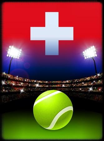 swiss flag: Switzerland Flag and Tennis Ball on Stadium Background Original Illustration