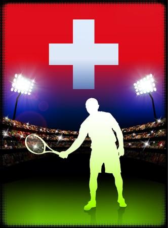 swiss flag: Switzerland Flag and Tennis Player on Stadium Background Original Illustration