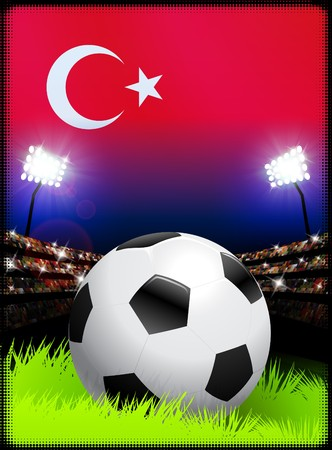 Turkey Flag and Ball on Stadium Background Original Illustration illustration