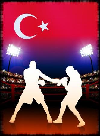 Turkey Boxing on Stadium Background Original Illustration illustration