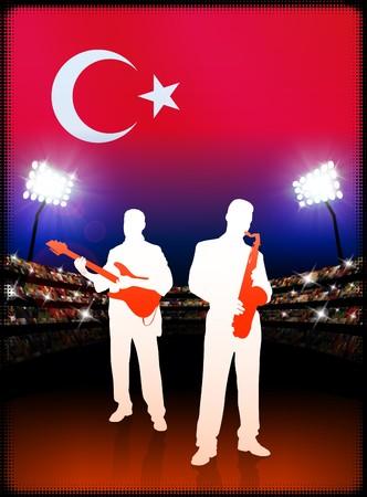 Live Music Band with Turkey Flag on Stadium Background Original Illustration illustration