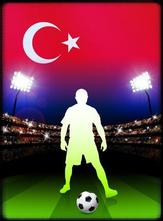 Turkey Soccer Player with Flag on Stadium Background Original Illustration illustration