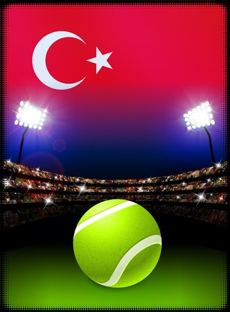 Turkey Flag and Tennis Ball on Stadium Background Original Illustration