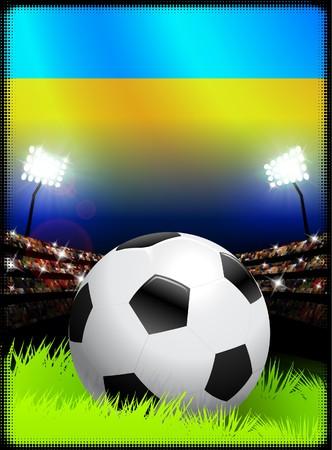 ウクライナの国旗とスタジアムの背景にボール オリジナル イラスト