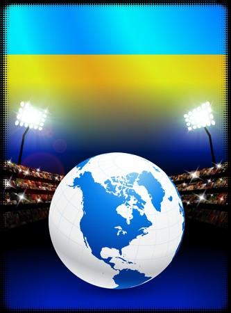 スタジアムの背景に地球とウクライナの国旗 オリジナル イラスト