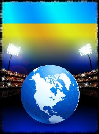 スタジアムの背景に世界中でウクライナの旗オリジナル イラスト