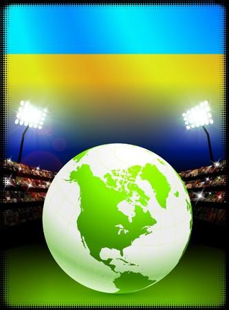 スタジアムの背景に世界中でウクライナの旗 オリジナル イラスト 写真素材
