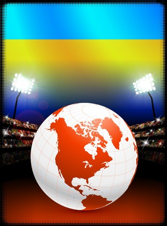 Ukraine Flag with Globe on Stadium Background Original Illustration