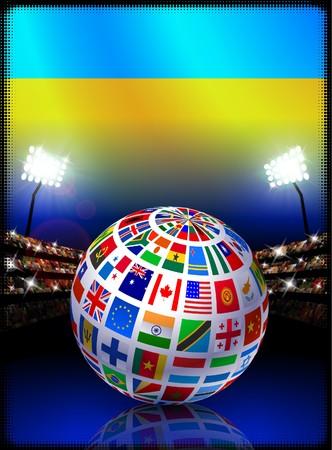 Ukraine Flag Globe on Stadium BackgroundOriginal Illustration Stock Illustration - 7266033
