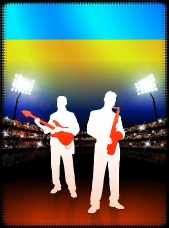 スタジアムの背景にウクライナの国旗を持つ音楽バンドをライブします。 オリジナル イラスト