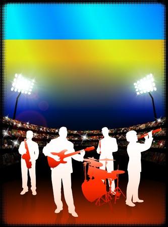 スタジアムの背景にウクライナの国旗と音楽のライブバンドします。オリジナル イラスト