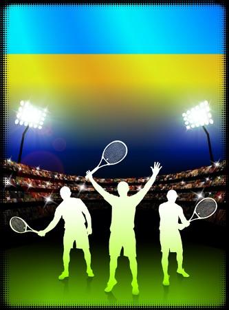 ウクライナの国旗とスタジアムの背景上のテニス選手オリジナル イラスト
