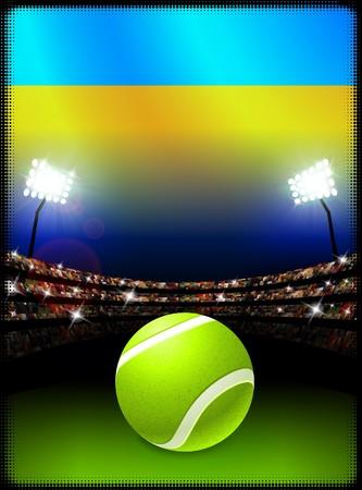 ウクライナの国旗とスタジアムの背景にテニス ・ ボール オリジナル イラスト 写真素材