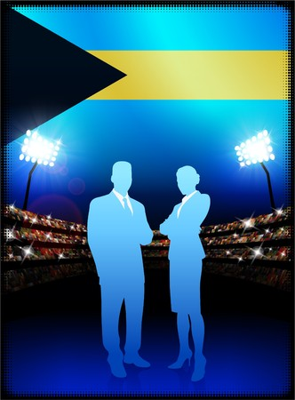 male symbol: Bahamas Flag with Business Couple on Stadium Background Original Illustration Stock Photo