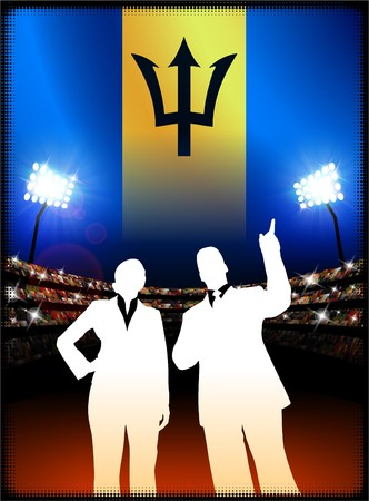 Barbados Flag with Business Couple on Stadium Background