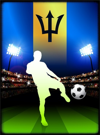 Barbados Flag with Soccer Player on Stadium Background