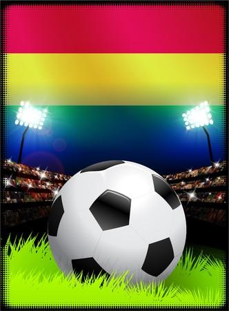 Bolivia Flag with Soccer Ball on Stadium Background Original Illustration
