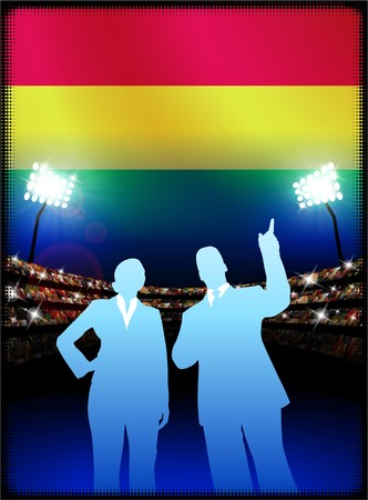 male symbol: Bolivia Flag with Business Couple on Stadium Background Original Illustration