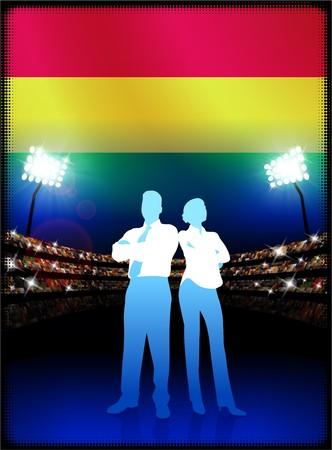 Bolivia Flag with Business Couple on Stadium Background Original Illustration