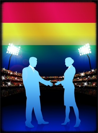 bandera de bolivia: Bandera de Bolivia con la pareja de negocios sobre fondo de estadio Ilustraci�n original