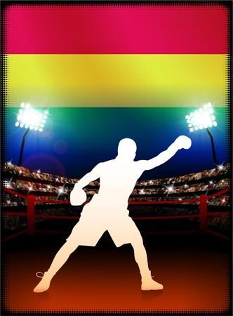 bandera de bolivia: Bandera de Bolivia con Boxer en segundo plano del estadio Ilustraci�n original  Foto de archivo