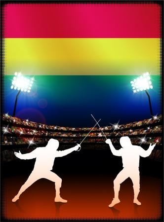 bandera de bolivia: Bandera de Bolivia con la esgrima en segundo plano del estadio Ilustraci�n original  Foto de archivo