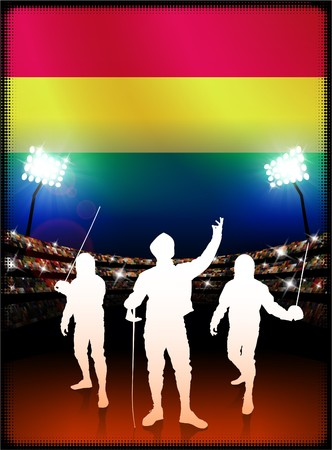 Bolivia Flag with Fencing on Stadium Background Original Illustration