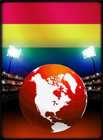 Bolivia Flag with Globe on Stadium Background Original Illustration