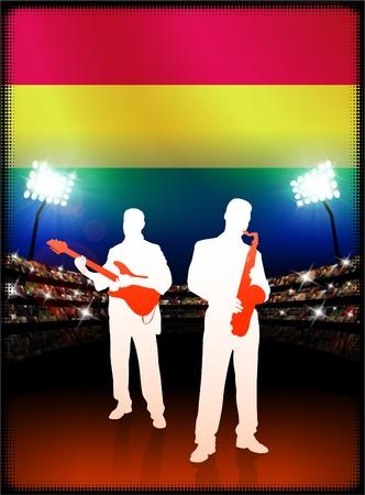 Bolivia Flag with Live Music Band on Stadium Background Original Illustration